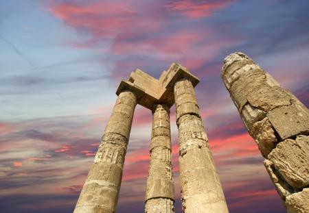 tripping: Apollo Temple at the Acropolis of Rhodes, Greece Stock Photo