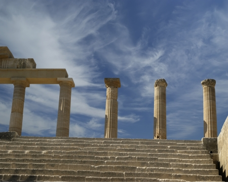 Partially rebuilt temple of Athena Lindia at the Acropolis of Lindos, Rhodes island, Greece photo