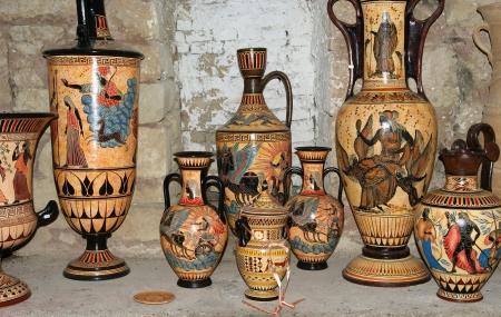 vasi greci: Ceramica negozio di souvenir, tradizionali vasi greci Archivio Fotografico