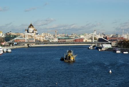 moskva river: View of Moscow, Russia. Moskva River. Pushkinskaya Embankment Stock Photo