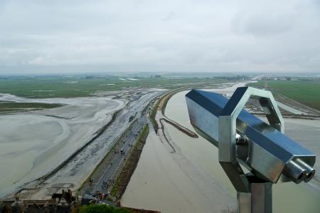 Telescope viewer and  View from Mont Saint-Michel, Normandy, France--one of the most visited tourist sites in France Stock Photo - 17141050