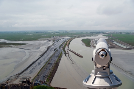 Telescope viewer and  View from Mont Saint-Michel, Normandy, France--one of the most visited tourist sites in France Stock Photo - 17141327