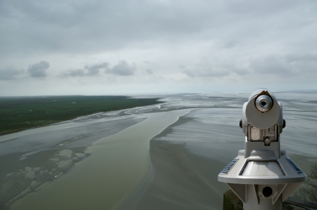 Telescope viewer and  View from Mont Saint-Michel, Normandy, France--one of the most visited tourist sites in France Stock Photo - 17088819