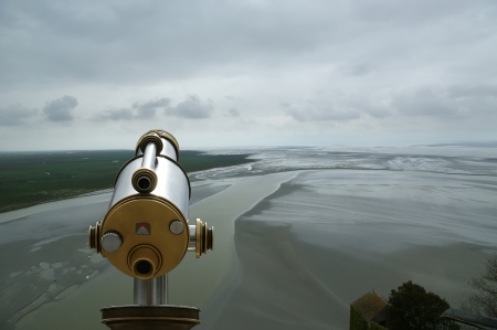 Telescope viewer and  View from Mont Saint-Michel, Normandy, France--one of the most visited tourist sites in France Stock Photo - 17088835