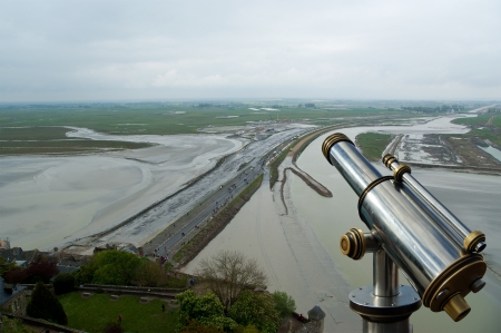 Telescope viewer and  View from Mont Saint-Michel, Normandy, France--one of the most visited tourist sites in France Stock Photo - 17147587