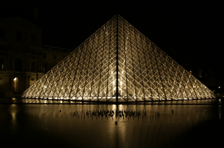 louvre pyramid: Louvre, Pyramid, which was completed in 1989  by night , France Editorial