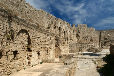 Medieval city walls in Rhodes town, Greece Stock Photo - 17648693
