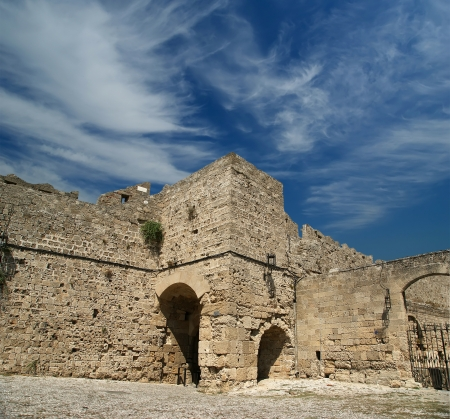 Medieval city walls in Rhodes town, Greece Stock Photo - 17648724