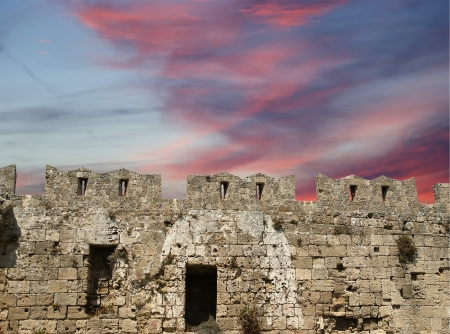 Medieval city walls in Rhodes town, Greece Stock Photo - 17651373