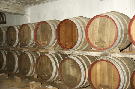 Oak barrels in which the wine matures at a winery photo