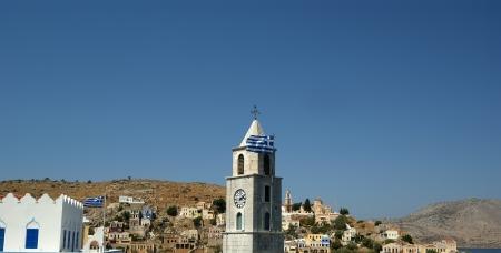 Symi village on island of Symi near island of Rhodes (Greece). Typical greek houses Stock Photo - 17648904