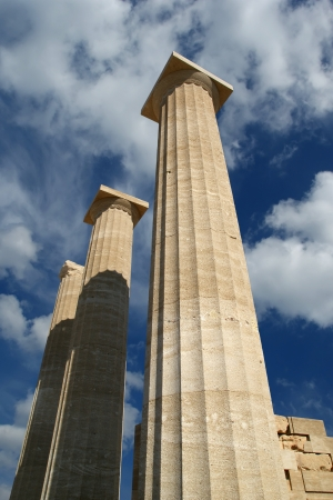 Partially rebuilt temple of Athena Lindia at the Acropolis of Lindos, Rhodes island, Greece Stock Photo - 17648974