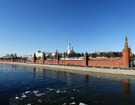 Moscow Kremlin on a sunny winter day (panorama), Russia