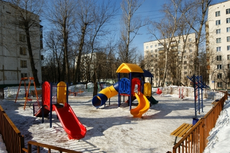 winters: Playground snowy winters, Moscow, Russia Editorial