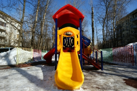 winters: Playground snowy winters, Moscow, Russia Stock Photo