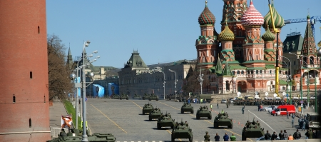 Rehearsal of military parade on Red Square Moscow, Russia. may, 07 2013