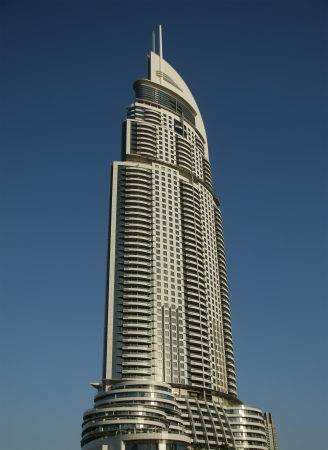 Modern Hotel Address at Downtown Burj Dubai, Dubai, United Arab Emirates. The hotel is 63 stories high and feature 196 lavish rooms and 626 serviced residences