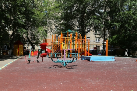 Playground on a sunny summer day, Moscow, Russia photo