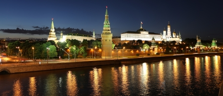 Night view of the Moskva River and Kremlin, Russia, Moscow photo