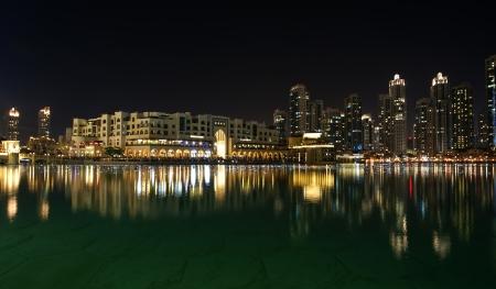 mall of the emirates: City skyline from Dubai Mall near Burj Khalifa by night, United Arab Emirates