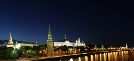 moskva river: Night view of the Moskva River and Kremlin, Russia, Moscow. Stock Photo