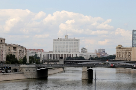 moskva river: Moscow, Russia. view of the Russian White House Stock Photo