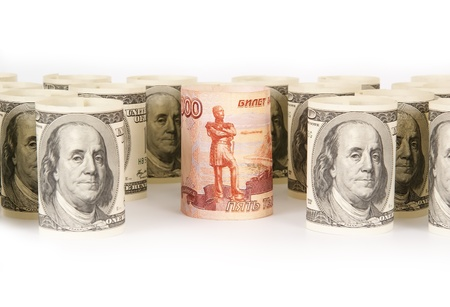 roubles: US dollars and Russian roubles banknotes