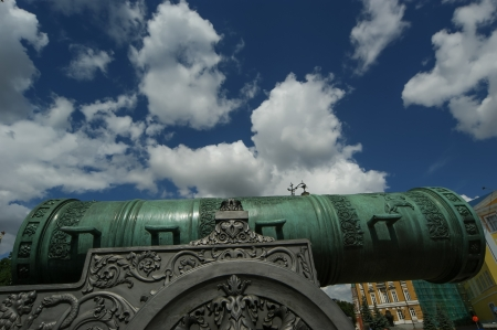 The Tsar Cannon is a large, 5.94 metres (19.5 ft) long cannon on display on the grounds of the Moscow Kremlin Stock Photo - 21205181