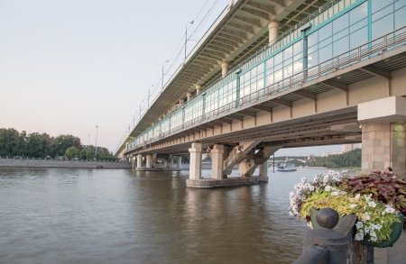 Moscow River, Luzhnetskaya Bridge (Metro Bridge) and promenade. Moscow, Russia photo