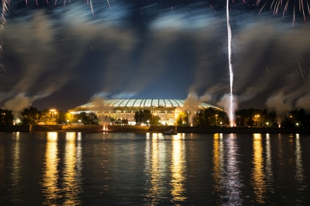 moskva river: Fireworks on the embankment of the Moskva River near Luzhniki Stadium, Russia. The opening ceremony of the 14th World Championships in Athletics in Moscow