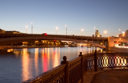moskva river: Moskva River in night. Moscow, Russia
