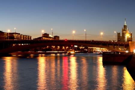 moskva river: Moskva River in night. Moscow, Russia