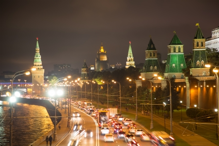 moskva river: night view of the Moskva River  and Kremlin, Russia, Moscow Editorial