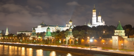 moskva river: night view of the Moskva River  and Kremlin, Russia, Moscow Stock Photo