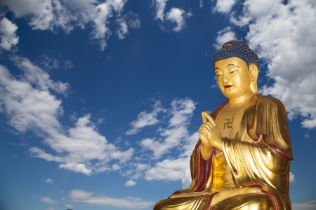 Buddhist Temple. Golden statue of Buddha-- southern Xian (Sian, Xi'an), Shaanxi province, China Stock Photo - 23549949