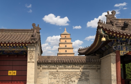 Giant Wild Goose Pagoda or Big Wild Goose Pagoda, is a Buddhist pagoda located in southern Xian (Sian, Xi'an),Shaanxi province, China Stock Photo - 24149664