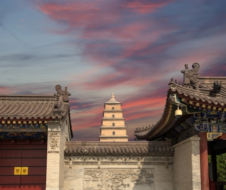 Giant Wild Goose Pagoda or Big Wild Goose Pagoda, is a Buddhist pagoda located in southern Xian (Sian, Xi'an),Shaanxi province, China Stock Photo - 24149681