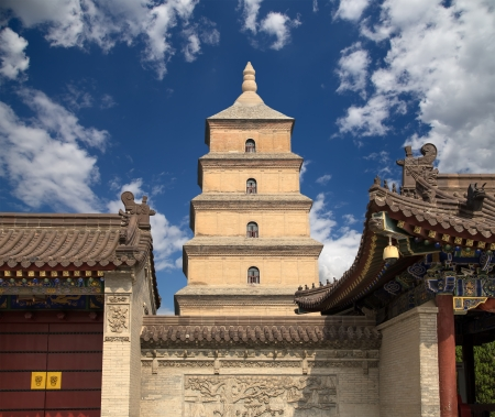 Giant Wild Goose Pagoda or Big Wild Goose Pagoda, is a Buddhist pagoda located in southern Xian (Sian, Xi'an),Shaanxi province, China Stock Photo - 24149745