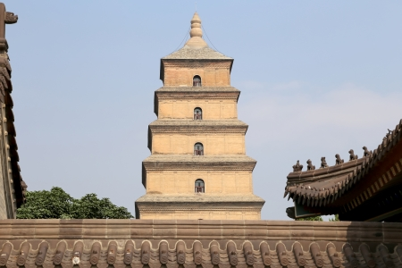 Giant Wild Goose Pagoda or Big Wild Goose Pagoda, is a Buddhist pagoda located in southern Xian (Sian, Xi'an),Shaanxi province, China Stock Photo - 24149755