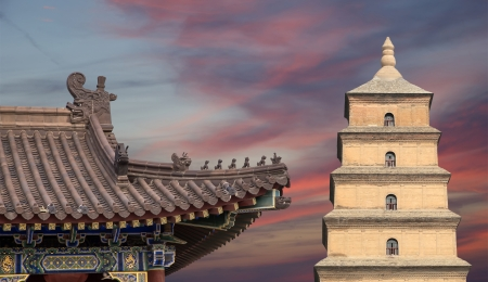 Giant Wild Goose Pagoda or Big Wild Goose Pagoda, is a Buddhist pagoda located in southern Xian (Sian, Xi'an),Shaanxi province, China Stock Photo - 24149799