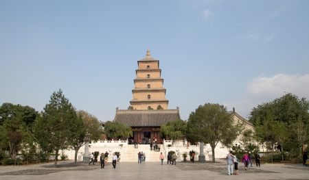 Giant Wild Goose Pagoda or Big Wild Goose Pagoda, is a Buddhist pagoda located in southern Xian (Sian, Xi'an),Shaanxi province, China Stock Photo - 24149993