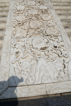 Large stone carving near on the territory Giant Wild Goose Pagoda, is a Buddhist pagoda located in southern Xian (Sian, Xian), Shaanxi province, China photo