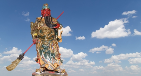 wrathful: Dharmapala (protector of dharma), Buddhist temple in Beijing, China.  Dharmapala is a type of wrathful deity. The name means Dharma-defender in Sanskrit, also known as the Defenders of the Law (Dharma), or the Protectors of the Law