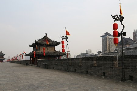 Fortifications of Xian (Sian, Xian) an ancient capital of China-- represent one of the oldest and best preserved Chinese city walls photo