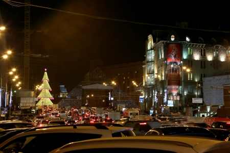 Christmas and New Year holidays illumination at night in Moscow, Russia