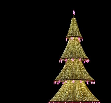 �rbol de Navidad iluminado para Navidad y A�o Nuevo en la noche en Mosc�, Rusia photo