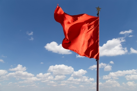 communism: Red flags on the Tiananmen Square -- is a large city square in the center of Beijing, China