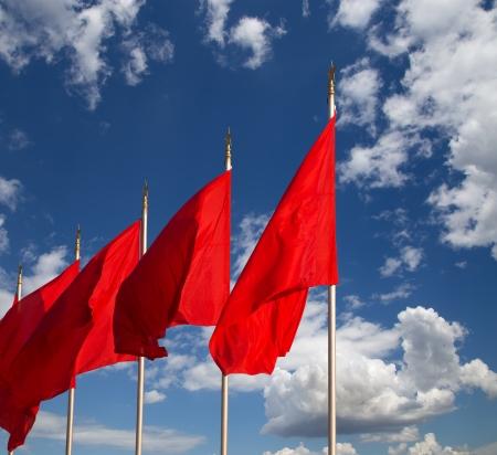 天安門広場--で赤い旗はセンター北京、中国で大規模な都市の広場 写真素材