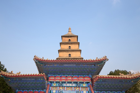 Giant Wild Goose Pagoda (Big Wild Goose Pagoda), is a Buddhist pagoda located in southern Xian (Sian, Xi'an), Shaanxi province, China Stock Photo - 25508294