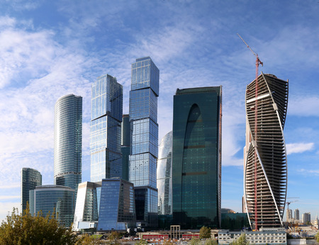working stiff: Skyscrapers of the International Business Center (City), Moscow, Russia